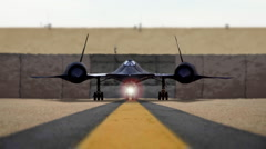SR-71 Blackbird Taxi out for Top Secret Spy Mission on Runway at Airport Stock Footage