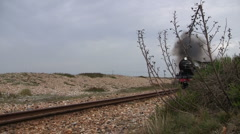 Old English  steam train and carriages passing through beach or desert Stock Footage
