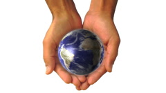 Man holding a 3d Earth hands global universe world globe earth virtual planet - stock footage