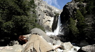 Stock Video Footage of Yosemite Waterfall with log in foreground