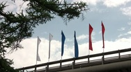 Stock Video Footage of Flags on the bridge