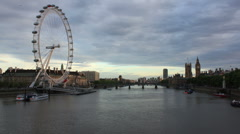 London Eye Day to Night - stock footage