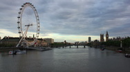 London Eye Day to Night Stock Footage