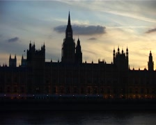 Zoom out from the Houses of Parliament, London England GFSD Stock Footage