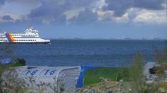 Ferry, Foehr Island, North Sea, Germany Stock Footage
