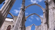 Stock Video Footage of Ruins of cathedral against cloudy sky (time lapse)