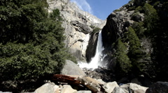 Stock Video Footage of Wide angle view of Yosemite waterfall base
