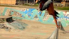 Skateboarder Handplant Stock Footage