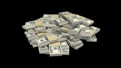 Money stack Dollar HD loop with alpha Stock Footage