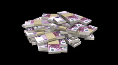 Money stack Euro HD loop with alpha Stock Footage