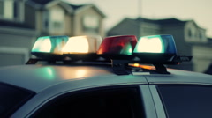 Police Car Lights In Suburban Neighborhood. - stock footage