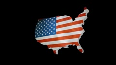 Stock Video Footage of United States Shape with American Flag