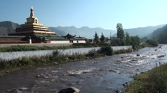 Stupa, Buddhism, river, peaceful, Tibet, China - stock footage