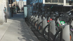 Montreal Bixi Bicycles In A Rack Stock Footage