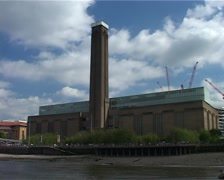 Tate Modern from the Thames River, London England GFSD Stock Footage