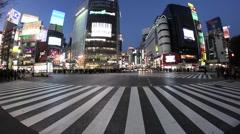 Shibuya Crossing, Tokyo at dusk Stock Footage