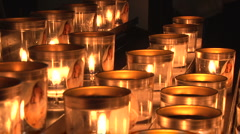 Candles in Rouen Cathedral Stock Footage