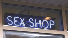 Sex Shop Neon Sign Montreal Canada Stock Footage