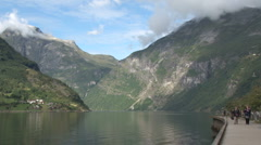 Panorama of Geirangerfjord Stock Footage