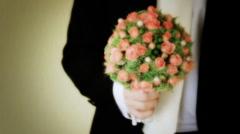 Marriage bridal bouquet, wedding, man, groom - stock footage