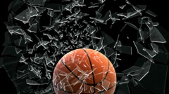 Basket ball breaking window Stock Footage