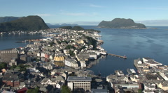 Panorama of Alesund in Norway Stock Footage