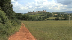 Tuscany Monteriggioni with road 1 Stock Footage