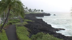 Kona Coast Line and Ocean Swell During Storm Stock Footage