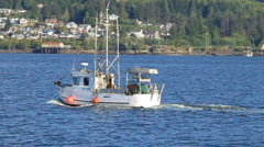 Passing a fishing boat (60p) Stock Footage