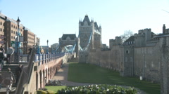 Tower Bridge and the Tower of London 50i Stock Footage