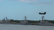 Stock Video Footage of CH-47 Chinook Landing at Pearl Harbor
