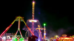 Fun fair time lapse 20 night ride zoom Stock Footage