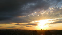 Timelapse with beautiful sunset over town Stock Footage