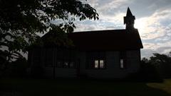 Silhouett of old church/school house Stock Footage