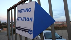 Voting Station sign Local Govt Elections Cosmo City, South Africa GFHD Stock Footage