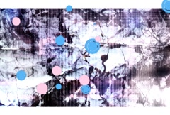Pink & Blue Circles Screen Over Grunge Background Stock Footage