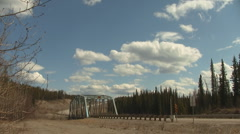 Alaska Highway Alcan Time Lapse Rancheria River, Yukon, Canada Stock Footage
