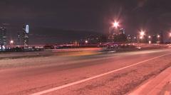 Night Cars Miami Pan View ( HD ) Stock Footage