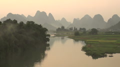 China beautiful scene karst mountains landscape river nature travel Stock Footage