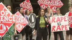2 of 4 Protest against Dominique Strauss-Kahn/IMF - stock footage
