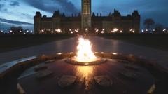 Eternal Centennial Flame At The Canadian Parliament Buildings At Night Ottawa  Stock Footage