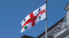 Montreal Municipal Government City Flag At City Hall Stock Footage
