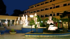Night view of the fountain and statue of Buddha Stock Footage