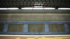 Subway train stops Stock Footage