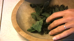 chopping medicinal herbs - stock footage