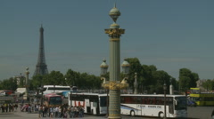 Coaches & Effiel Tower Stock Footage
