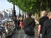 Stock Video Footage of Bankside with St Pauls and People walking, London England GFSD