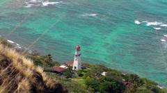 Diamondhead Lighthouse overlooks the Pacific Ocean Stock Footage
