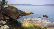 Landscape on river with boulders. timelapse shot with slider. Stock Footage