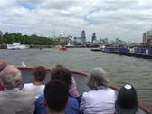 Stock Video Footage of Thames River Cruise with Tourists, London England GFSD